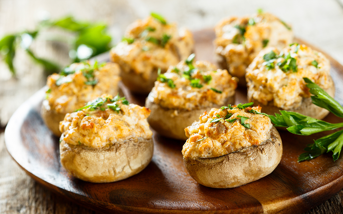 stuffed roasted mushrooms topped with parsley