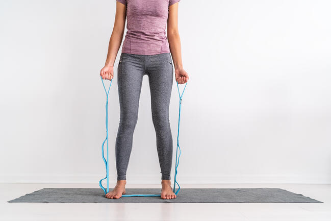 woman training with resistance bands