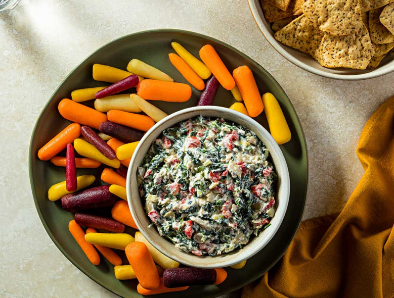 spinach artichoke dip with carrots